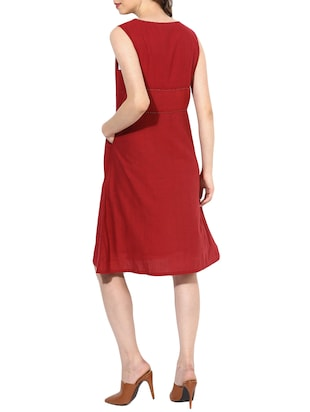 maroon cotton aline dress - 14894726 - Standard Image - 3