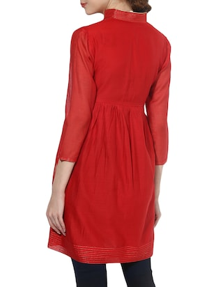 Bright red flared kurta - 14894744 - Standard Image - 3