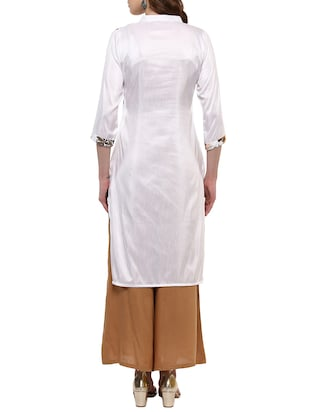 white silk blend straight kurta - 14895061 - Standard Image - 3