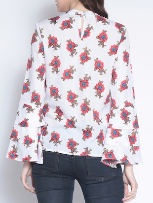 layered bell sleeved floral top - 14895302 - Standard Image - 3