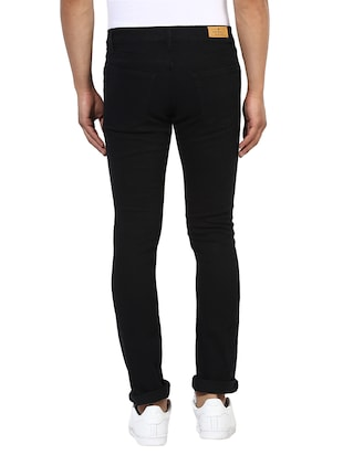 black cotton patched jeans - 14895557 - Standard Image - 3