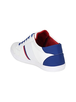 white leatherette lace up sneaker - 14896084 - Standard Image - 3