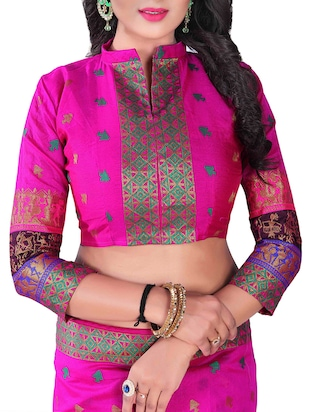 pink silk blend chanderi saree with blouse - 14896681 - Standard Image - 3