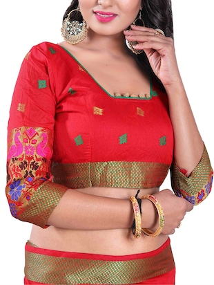 red silk blend chanderi saree with blouse - 14896707 - Standard Image - 3