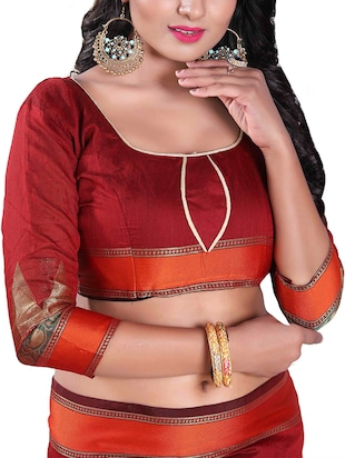maroon silk blend chanderi saree with blouse - 14896718 - Standard Image - 3