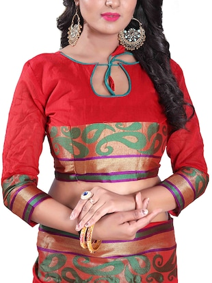 red silk blend chanderi saree with blouse - 14896721 - Standard Image - 3