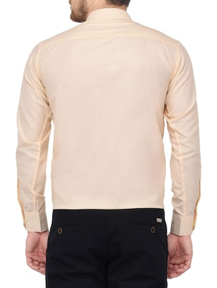 beige cotton formal shirt - 14896732 - Standard Image - 3