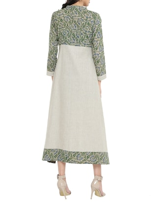 green  printed a-line dress - 14897842 - Standard Image - 3