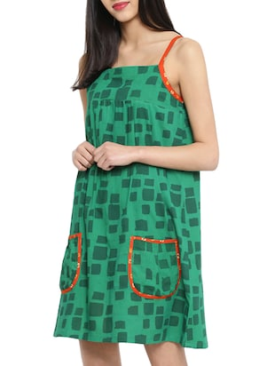 green printed tent dress - 14897847 - Standard Image - 3