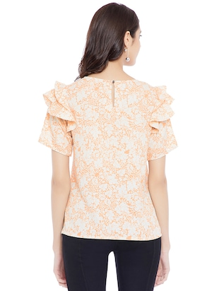 peach floral casual top - 14898429 - Standard Image - 3