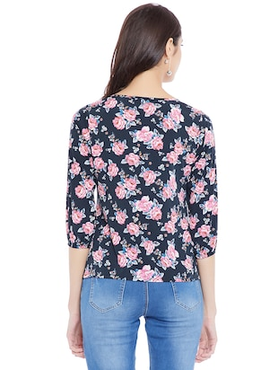navy blue floral casual top - 14898432 - Standard Image - 3