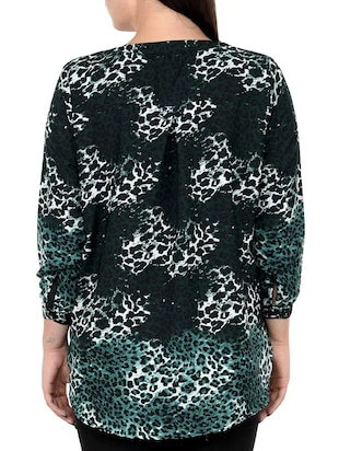 green printed plus tunic - 14898873 - Standard Image - 3