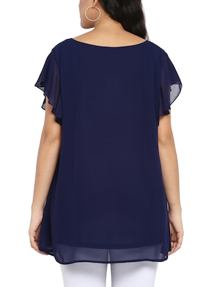 navy blue georgette plus tunic - 14898925 - Standard Image - 3
