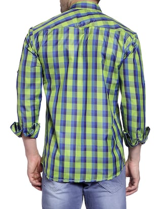 green cotton casual shirt - 14899937 - Standard Image - 3