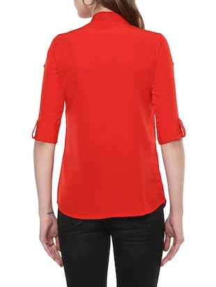 solid red casual shirt - 14900632 - Standard Image - 3