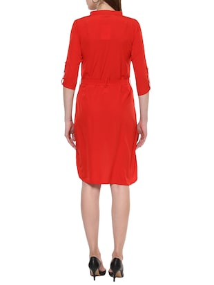 red solid high low dress - 14900640 - Standard Image - 3