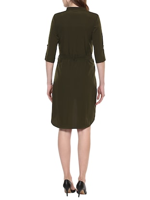 solid olive asymmetric dress - 14900644 - Standard Image - 3