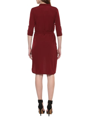 maroon solid high-low dress - 14900645 - Standard Image - 3