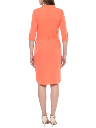 orange solid high-low dress - 14900647 - Standard Image - 3
