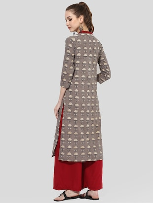 brown cotton straight kurta - 14901689 - Standard Image - 3