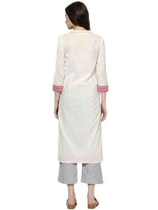 Indian Dobby white cotton straight kurta - 14901713 - Standard Image - 3