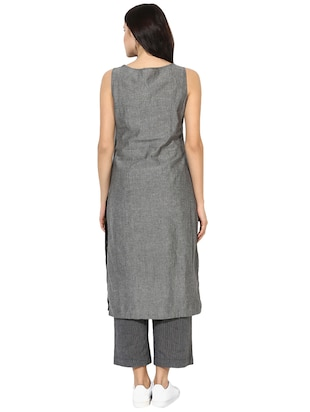 Indian Dobby grey cotton straight kurta - 14901717 - Standard Image - 3