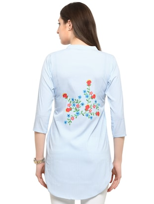 blue printed crepe tunic - 14901908 - Standard Image - 3