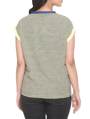 black striped georgette tee - 14902274 - Standard Image - 3