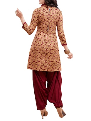 maroon cotton unstitched suit - 14902870 - Standard Image - 3
