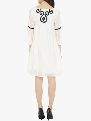 white solid a-line dress - 14904856 - Standard Image - 3