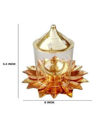 Decorate India Pure Brass and copper Kamal Medium Akhand diya 5.5 inch set - 14905106 - Standard Image - 3
