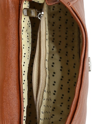 brown leatherette  regular sling bag - 14905666 - Standard Image - 3