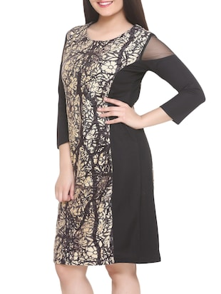 black printed a-line dress - 14905675 - Standard Image - 3