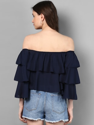 off shoulder layered crop top - 14905850 - Standard Image - 3