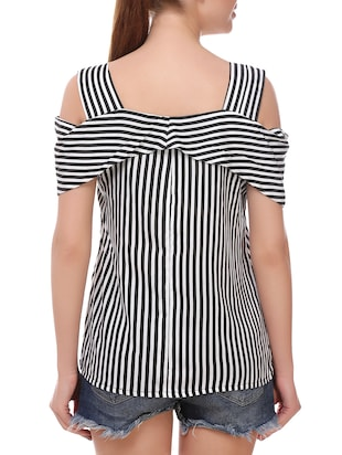 black rayon striped top - 14907883 - Standard Image - 3