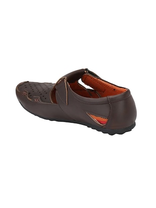 brown leatherette slip on sandal - 14908076 - Standard Image - 3