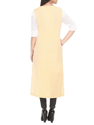 yellow cotton blend straight kurta - 14908240 - Standard Image - 3