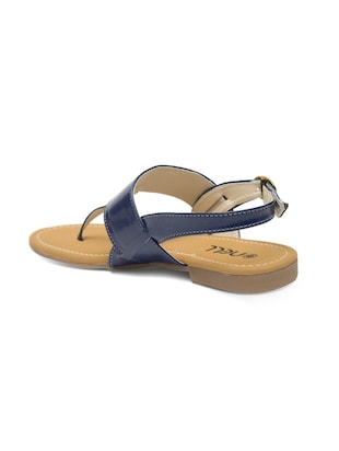 blue faux leather back strap sandals - 14910355 - Standard Image - 3