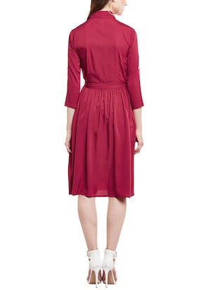 pink solid shirt dress - 14912060 - Standard Image - 3