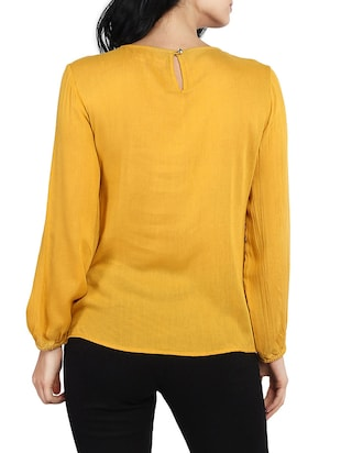 solid yellow full sleeved top - 14912492 - Standard Image - 3