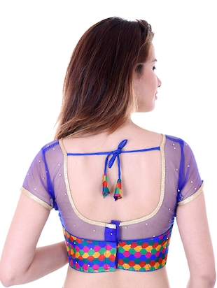 blue silk embroidered blouse - 14912755 - Standard Image - 3