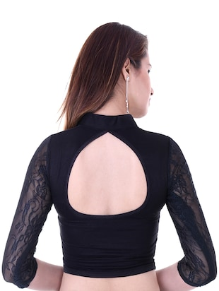 black cotton lycra embroidered blouse - 14912916 - Standard Image - 3