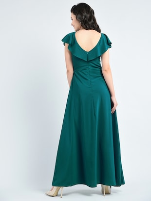 green solid gown dress - 14915214 - Standard Image - 3