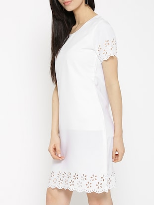 solid white a-line dress - 14915973 - Standard Image - 3