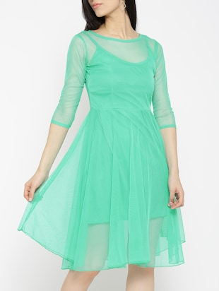 solid green fit & flare dress - 14915992 - Standard Image - 3