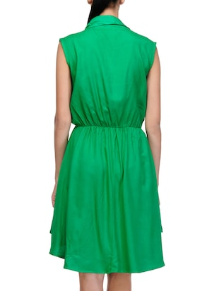 green solid asymmetrical dress - 14917230 - Standard Image - 3
