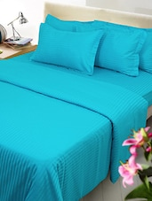 Self Striped Satin Cotton Plain King Bedsheet With 2 Pillow Covers -  online shopping for bed sheet sets