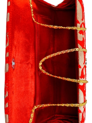 red polyester fold over clutch - 14918174 - Standard Image - 3
