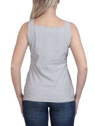grey striped cotton top - 14918628 - Standard Image - 3
