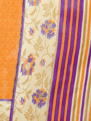 mustard art silk printed saree with blouse - 14918694 - Standard Image - 3